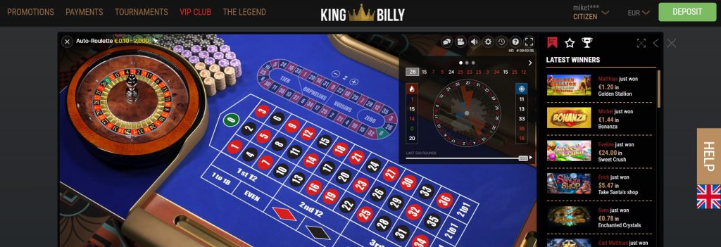 King Billy Auto-Roulette in het Live Casino