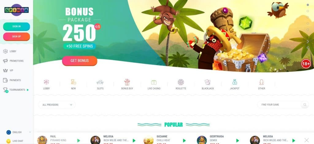 Spinia Casino Site